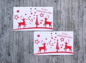 Geschenkanhänger **HIRSCHrot2** von ZWEIFARBIG 4er Set Weihnachten Frohe Weihnachten Klappanhänger Anhänger Dekoration Weihnachtsdeko Hirsch - Handarbeit kaufen