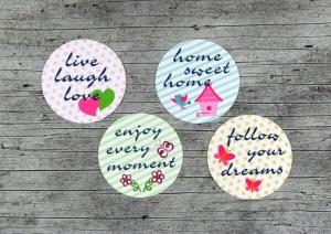 4 Kühlschrankmagnete **Pastell1** von ZWEIFARBIG 50mm Magnet Wochenkalender Küche Büro Geburtstag Organizer Dekoration Küchenbedarf - Handarbeit kaufen