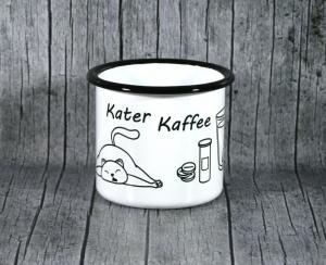 Tasse **KaterKaffee** von ZWEIFARBIG aus Emaille Kaffeetasse Küche Geschenk Emaillebecher Geburtstag Dekoration Emailletasse Hobby Küchenbedarf Becher Tasse - Handarbeit kaufen