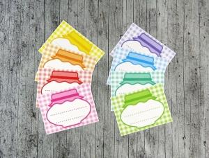 Einmachetiketten **KaRiert2** von ZWEIFARBIG 16 Stück gummiertes Papier Etiketten Dekoration Aufkleber Sticker Marmeladenetikett Küche - Handarbeit kaufen