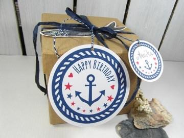 Geschenkanhänger Geburtstag · Deko für maritime Geschenke  mit Anker