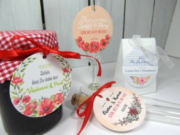 Gastgeschenk Anhänger Hochzeit romantisch Tischkarten Tischdeko