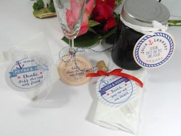 Gastgeschenk Anhänger Hochzeit maritim Tischkarten Tischdeko