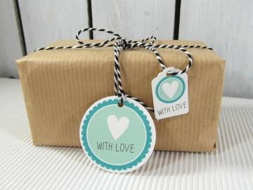 Geschenkanhänger With Love Geburtstag Selbstgemachtes Anhänger & Etiketten für Geschenke