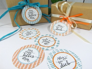 Geschenkanhänger 70er Touch türkis orange Handwriting Geburtstag Deko Anhänger Geschenk