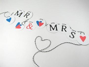 Girlande Mr & Mrs für die Hochzeit Dekogirlande Trauuung