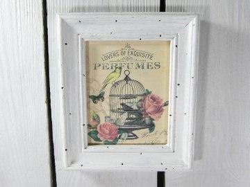 Vintage-Shabby Bild Rosen Vogel Schmetterling Vogelkäfig