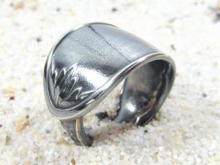 Ring Besteckschmuck Bandring Blätter Metall Alpaca