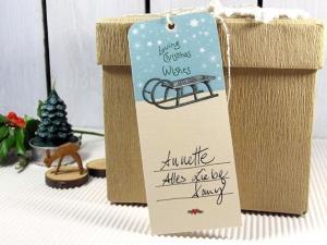 Geschenkanhänger Weihnachten Weihnachtsgeschenk Deko Schlitten Sterne