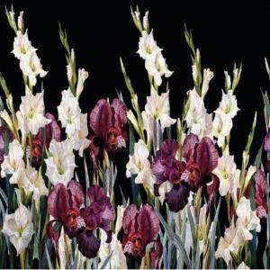 Stoff Jersey Lilien digital bedruckt- schwarz