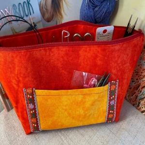 Handarbeitstasche Rote Lara - Projekttasche - Stricktasche