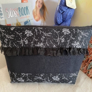 Handarbeitstasche Schwarze Blume - Projekttasche - Stricktasche