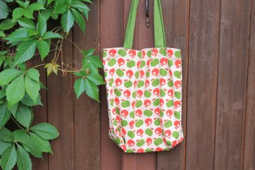 bunter Stoffbeutel handgenäht Einkaufstasche handmade Beutel retro Äpfel kaufen