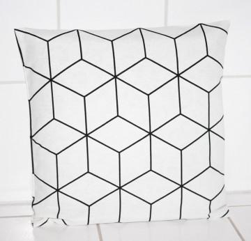 Kissen skandinavisches Muster 40x40 schwarz weiß Kissenbezug modern