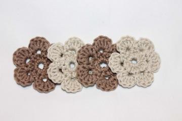 4 Häkelblümchen Häkelapplikation blume Naturton Häkelblume Patch kaufen