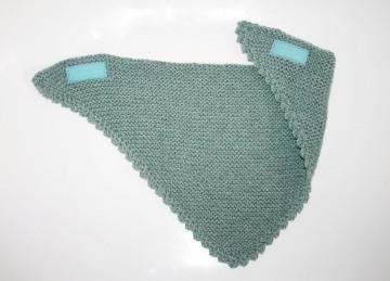 gestricktes Halstuch blaugrau für Kinder Dreieckstuch aus Baumwolle mit Klettverschluss Schnuffeltuch für Jungs
