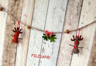 weihnachtliche Girlande Elchparade gefilzt