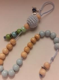 Rechenkette mit Engelanhänger, blau natur,Schulanfang, Geschenk - Handarbeit kaufen
