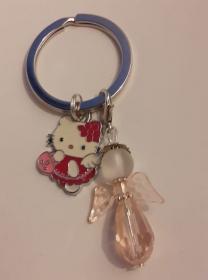 - Schlüsselanhänger ( rosa) mit Schutzengel und Kitty Katze - auf Wunsch personalisierbar mit Namen- - Handarbeit kaufen