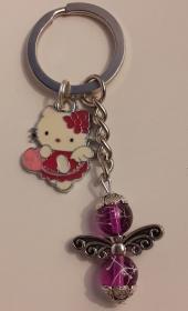 - Schlüsselanhänger  mit Schutzengel (lila)  und Kitty Katze - auf Wunsch personalisierbar mit Namen- - Handarbeit kaufen