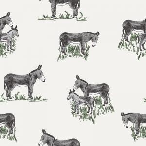 Musselin  / Double Gauze, weiß mit Esel und Gras