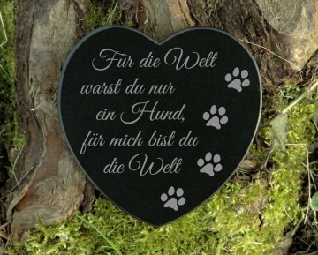 Gedenkstein Hund Gravur Herz Grabschmuck Marmor