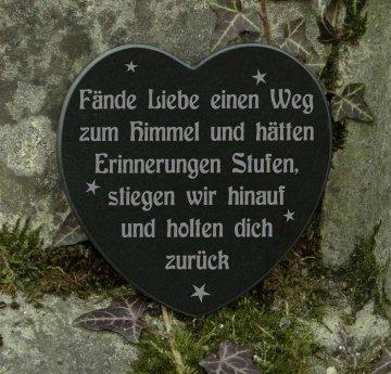 Grabschmuck Gedenkstein Herz Trauerspruch Fände Liebe einen Weg zum Himmel