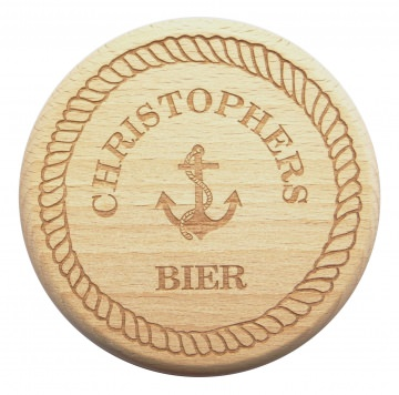 Bierglasdeckel Anker maritim Gravur Wunschname Buche