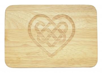 Brotbrett Keltisches Herz Gravur Kelten Holz Gummibaum