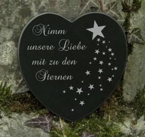 Gedenkstein Sternenkind Herz Grabschmuck Marmor Gravur ♥
