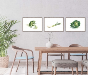 Bild Aquarelle Gemüse Küche Esszimmer 3er set Druck - Handarbeit kaufen