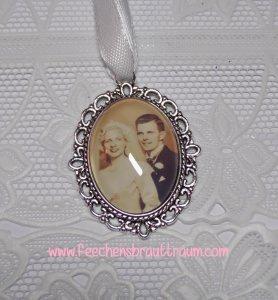 Memorial für den Brautstrauß oval silber - Amulett, Medaillon
