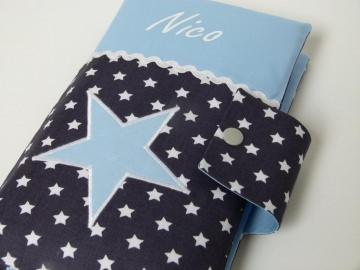 Windeltasche Sternchen in grau / hellblau mit Namen