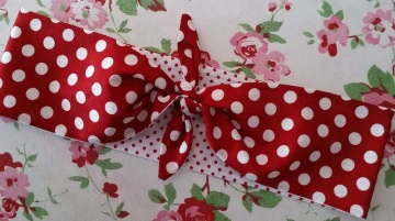2in1♥WENDE♥HAARBAND♥SOMMER♥DOTS♥PUNKTE♥ROT~WEIß