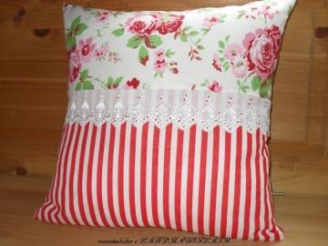Landhaus Rosen Kissen Bezug Spitze Streifen rot weiß