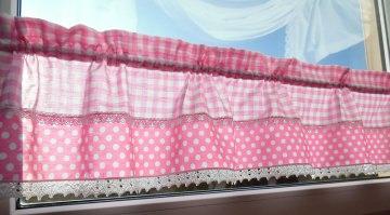 Kinderzimmergardine Babyzimmer Gardine Landhaus Querbehang Gardine rosa weiß Kurzgardine Scheibengardine PUNKTE DOTS
