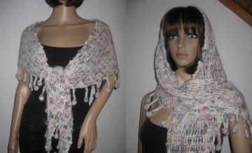Schaltuch mit Mohair und Seide, Dreieckstuch, aus handgefärbter Wolle, gehäkelt, Schal, Stola