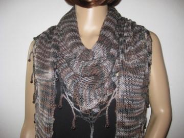 Schaltuch mit Mohair und Seide aus handgefärbter Wolle, gestrickt und gehäkelt, Dreieckstuch, Schal, Stola - Handarbeit kaufen