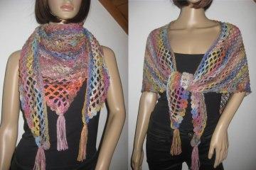 Dreieckstuch, bunt mit Farbverlauf, Stola, Schultertuch, aus weicher Wolle gehäkelt   - Handarbeit kaufen