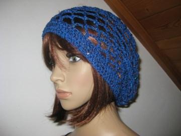 Mütze, Beanie, Sommer-Mütze mit Pailletten und Glanzfaden in blau - Handarbeit kaufen