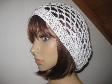 Mütze, Beanie, Sommer-Mütze mit Pailletten und Glanzfaden in weiß