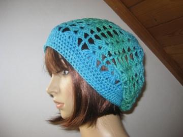 Mütze, Beanie, Sommer-Mütze mit Farbverlauf inTürkistönen