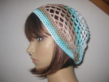 Mütze, Beanie, Sommer-Mütze mit Farbverlauf in Beige- und Türkistönen