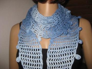 Schaltuch, Schal mit Seide, Dreieckstuch, Hellblau im Farbverlauf