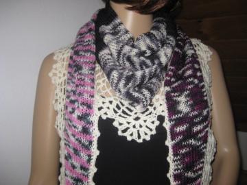 Dreieckstuch, Schaltuch aus handgefärbter Wolle, Schal, Stola