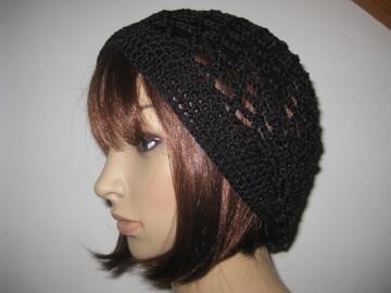 Mütze, schwarz glänzend, Sommermütze, Beanie
