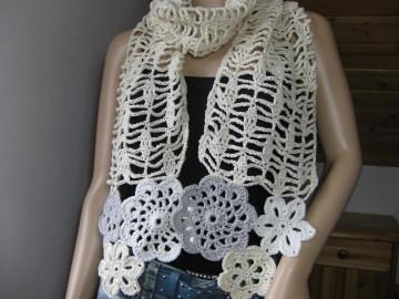 Schmuckschal, Häkelschal aus Kaschmir und Baumwolle - Handarbeit kaufen