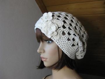 Mütze, Beanie, Sommer-Mütze aus Kaschmir und Baumwolle