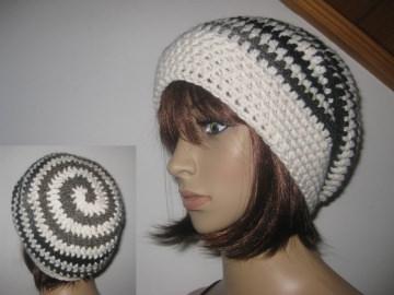 Mütze, Beanie im Spiral-Design, Häkelmütze  - Handarbeit kaufen