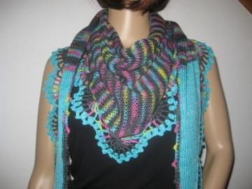 Dreieckstuch, Schaltuch aus handgefärbter Wolle Schal, Stola